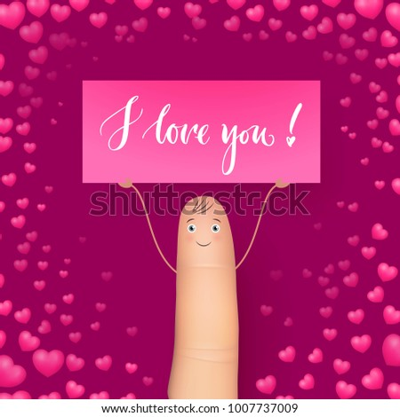 Cute finger holding card miss you stock vector royalty free cute finger holding card miss you realistic heart background inspirational message for loved m4hsunfo