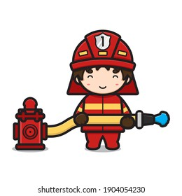 Cute fire fighter character spaying water from hydrant cartoon vector icon illustration. Profession icon concept isolated vector. Flat cartoon style
