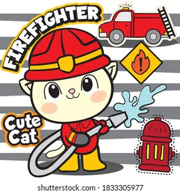 Cute firefighter cat illustration for t shirt