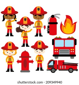 Cute firefighter set. Boys and girls in firefighter costumes.