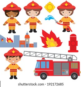 Cute firefighter vector illustration