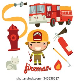 cute fireman kid. firefighter profession.
