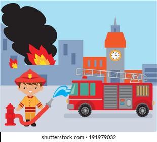 Cute fireman vector illustration