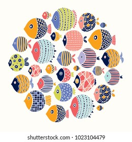 Cute fish card. Around motif with fish.