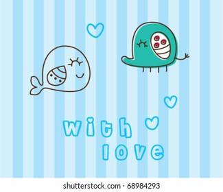 cute fish and cute elephant