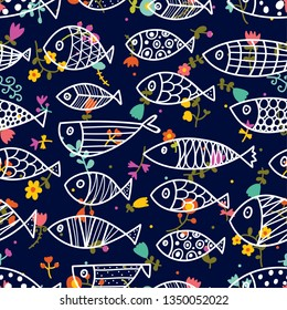 Cute fish. Cute flowers. Kids background. Seamless pattern. Can be used in textile industry, paper, background, scrapbooking.