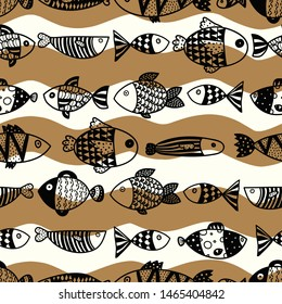 Cute fish.  Gold background. Seamless pattern. Can be used in textile industry, paper, background, scrapbooking.