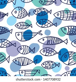 Cute fish.  Kids background. Can be used in textile industry, paper, background, scrapbooking.