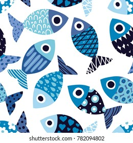 Cute fish.  Kids background. Seamless pattern.