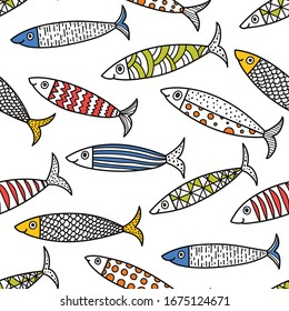 Cute fish.  Kids lbackground. Coloring seamless pattern. Can be used in textile industry, paper, background, scrapbooking.