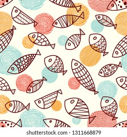 Cute fish.  Kids line background. Seamless pattern. Can be used in textile industry, paper, background, scrapbooking.