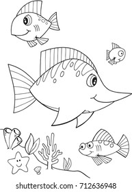 Cute Fish Ocean Illustration Vector Art