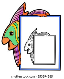 cute fish on a rectangular frame