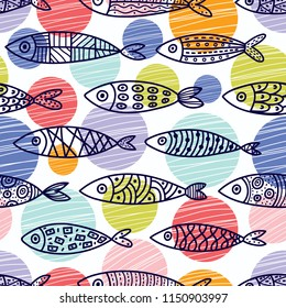 Cute fish and polka dots.  Kids background. Seamless pattern.