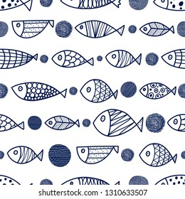 Cute fish and polka dots.  Kids line background. Seamless pattern. Can be used in textile industry, paper, background, scrapbooking.