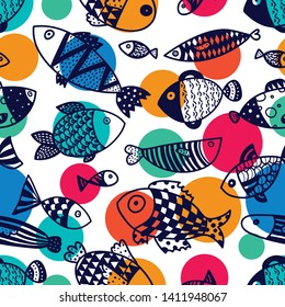 Cute fish and polka dots.  Kids  background. Seamless pattern. Can be used in textile industry, paper, background, scrapbooking.