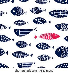 Cute fish. Cute seamless pattern.