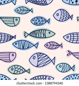 Cute fish. Seamless pattern. Can be used for wallpaper, textile, invitation card, wrapping, web page background.
