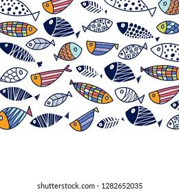 Cute fish. Cute vector postcard.