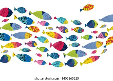 Cute fish. Vector sea poster.