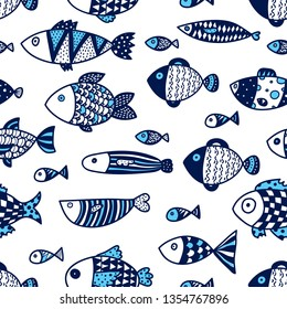 Cute fish. Vector seamless pattern.