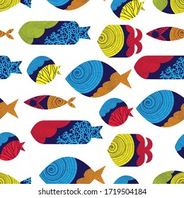 Cute fish. Vector seamless pattern. Can be used in textile industry, paper, background, scrapbooking.