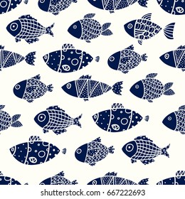 Cute fish. Vector seamless pattern.