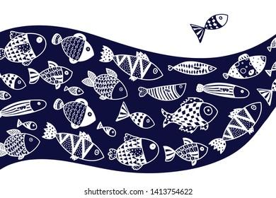 Cute fish. Wave. Vector sea poster.