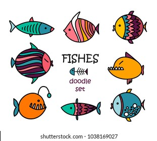 Cute fishes cartoon. Doodle set