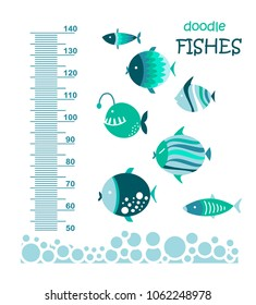 Cute fishes. Meter wall or height meter from 50 to 140 centimeter