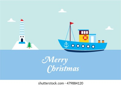cute fishing boat merry christmas greeting card with lighthouse graphic