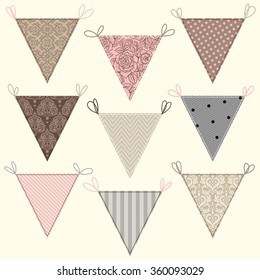 Cute flags set. Bunting collection.