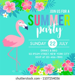 Cute flamingo with border of tropical flower and leaf illustration for party invitation card template
