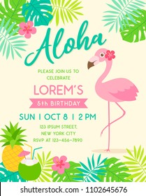 Cute flamingo with border of tropical fruit and leaf illustration for party invitation card template