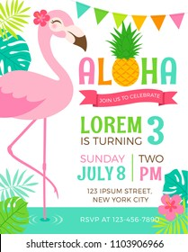Cute flamingo with border of tropical leaf illustration for party invitation card template