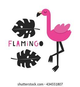 Cute flamingo card design. Vector illustration.