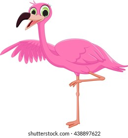 cute flamingo cartoon waving