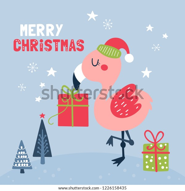Flamingo Christmas Cards.Cute Flamingo Character Christmas Card Childish Stock Vector