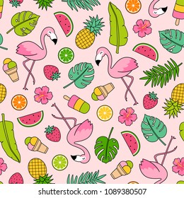 Cute flamingo, fruits, dessert and leaf seamless pattern with pink background. Tropical summer illustration design.