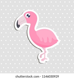 Cute flamingo sticker vector illustration.