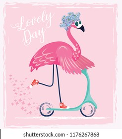 Cute flamingo with sunglasses, Sweet bird with scooter , vector illustration, summer print design, children print on t-shirt.