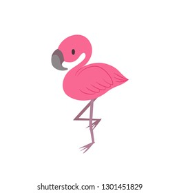 Cute flamingo sweet kawaii style isolated on white background. Exotic tropical bird pink color. Japanese Korean cartoon style. Icon, symbol, logo, for kids, toddler, baby. Funny jungle zoo animal.