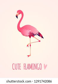 Cute flamingo. Tropical pink bird, girl card poster exotic wild nature, party beach beauty sticker isolated cartoon vector illustration