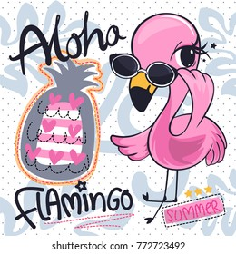 Cute flamingos girl cartoon wearing sunglasses with tropical elements background vector illustration.