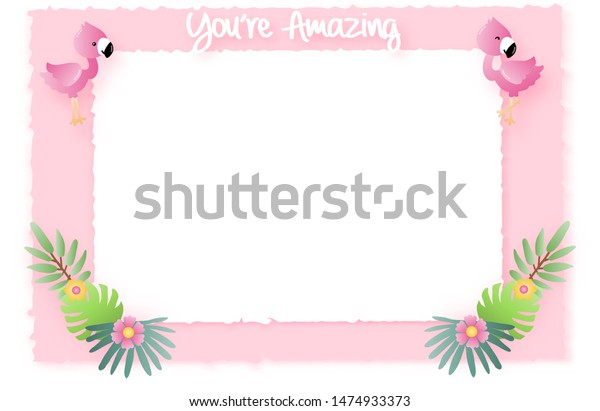 Cute Flamingos Tropical Pastel Paper Cut Stock Vector Royalty Free 1474933373