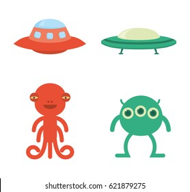 cute flat Alien icon spaceship