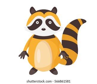 Cute Flat Animal Character Logo - Raccoon