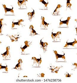 Cute flat beagle puppy in various poses and action. Seamless pattern with funny dogs. Bright vector background with domestic pets