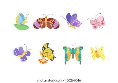 Cute flat butterfly vector