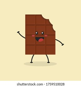 Cute Flat Cartoon Chocolate Bar Illustration. Vector illustration of cute bitten chocolate bar with a smiling expression. Cute chocolate mascot design